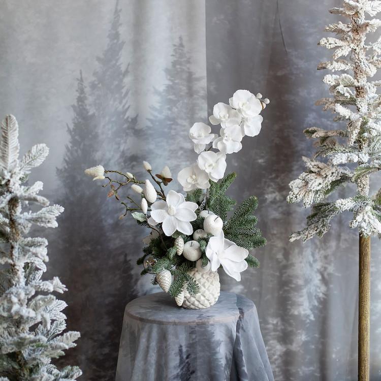 композиция новогодняя настольная  Снежная сакура